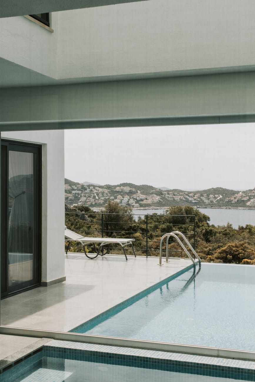 swimming pool with view of the mountain
